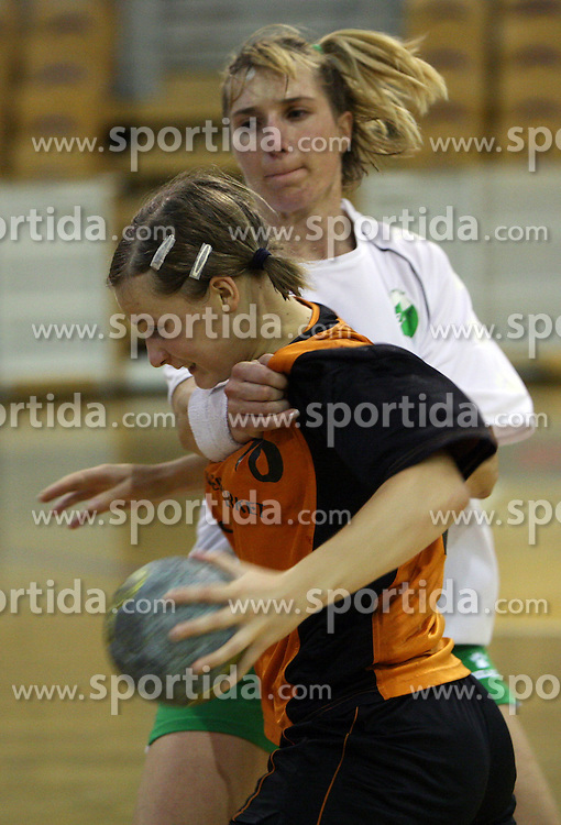 Vanesa Miler of Brezice and Vesna Pus of Olimpija at  handball game between women team RK Olimpija vs ZRK Brezice at 1st round of National Championship, on September 13, 2008, in Arena Tivoli, Ljubljana, Slovenija. Olimpija won 41:17. (Photo by Vid Ponikvar / Sportal Images)