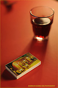 Boston, MA 012710 Glass of wine and vintage match box. (Essdras M Suarez/ EMS Photography)