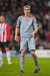 EINDHOVEN, THE NETHERLANDS - Tuesday, December 9, 2008: Liverpool's Stephen Darby in action against PSV Eindhoven during the final UEFA Champions League Group D match at the Philips Stadium. (Photo by David Rawcliffe/Propaganda)