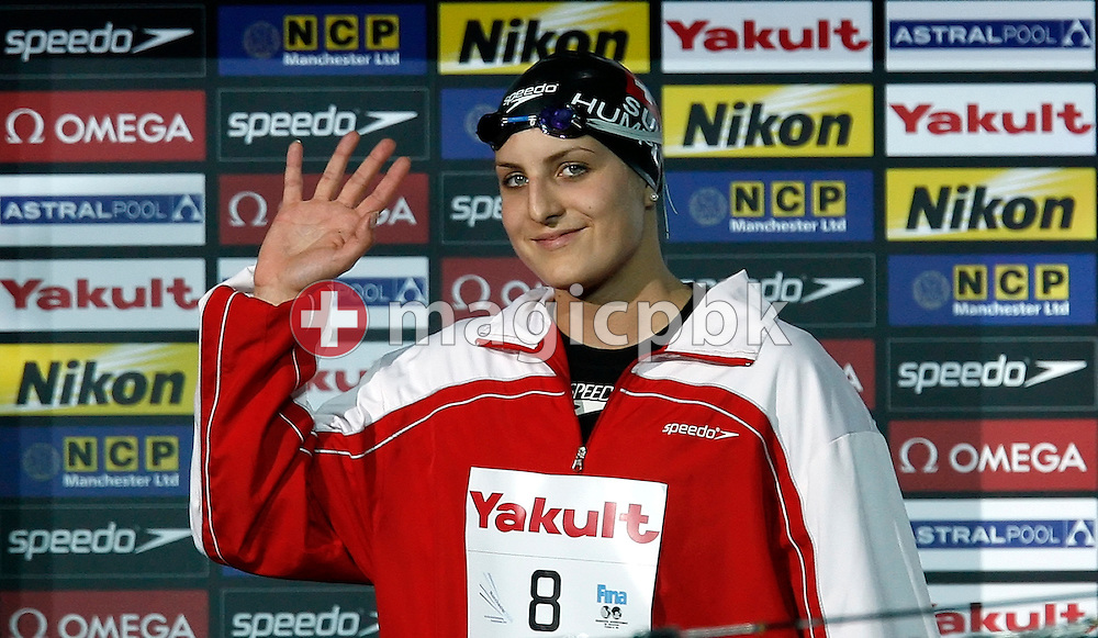Switzerland's Patrizia HUMPLIK enters the arena before competing in the women's 100m breaststroke semifinal in the Duncan Goodhew pool at the FINA Swimming World Championships (25m) in Manchester, Great Britain, Friday, April 11, 2008. (Photo by Patrick B. Kraemer / MAGICPBK)