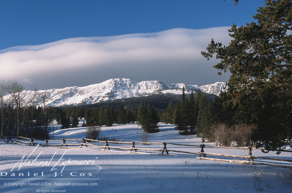 Snow-covered Bridger Mountains near Bozeman, Montana.