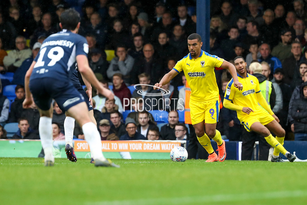 AFC Wimbledon striker Kweshi Appiah (9) dribbling during the EFL Sky Bet League 1 match between Southend United and AFC Wimbledon at Roots Hall, Southend, England on 12 October 2019.