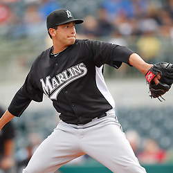 March 3, 2011; Kissimmee, FL, USA; Florida Marlins starting pitcher Alex Sanabia (59) during a spring training exhibition game against the Houston Astros at Osceola County Stadium.  Mandatory Credit: Derick E. Hingle
