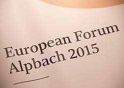 19.08.2015, Kongress, Alpbach, AUT, Forum Alpbach, Eröffnung, im Bild das Logo des Forums Alpbach // during the opening press conference of European Forum Alpbach at the Congress in Alpach, Austria on 2015/08/19. EXPA Pictures © 2014, PhotoCredit: EXPA/ Jakob Gruber