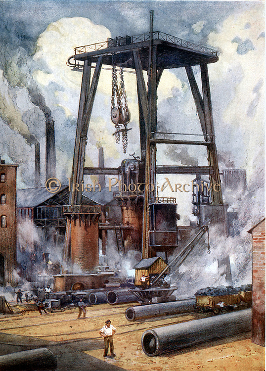 Steel works c1925. Illustration.