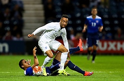 Nathan Redmond of England U21 avoids a tackle - Mandatory byline: Matt McNulty/JMP - 07966386802 - 03/09/2015 - FOOTBALL - Deepdale Stadium -Preston,England - England U21 v USA U23 - U21 International