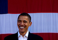U.S. Senator Barack Obama (D-ILL) smiles as he and Wisconsin Governor Jim Doyle campaign for a get out the vote rally a week before the elections Tuesday Oct. 31, 2006 Milwaukee. photo by Darren Hauck..