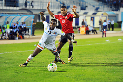 October 7, 2017 - Monastir, Tunisia - Mubele Naombe Firmin(13) of DR Congo and hamdou El Houni (10)during the qualifying match for the FIFA 2018 World Cup in Russia between Libya and the Democratic Republic of Congo (DR Congo) at Mustapha Ben Jannet stadium in Monastir  (Credit Image: © Chokri Mahjoub via ZUMA Wire)