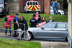 © Licensed to London News Pictures. 06/06/2017. Shildon UK. Foreign Secretary Boris Johnson is ushered away from Shildon Civic Hall in the back of a silver BMW to avoid a large group of protesters that had gathered next to his ministerial car & police protection vehicle after his speech today on the General Election campaign at Shildon Civic Hall in County Durham. Photo credit: Andrew McCaren/LNP