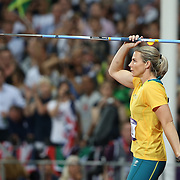 Kathryn Mitchell, Australia, in action during the Women's Javelin Final at the Olympic Stadium, Olympic Park, during the London 2012 Olympic games. London, UK. 9th August 2012. Photo Tim Clayton