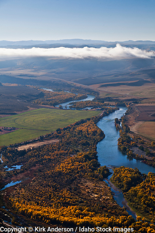 Aerial of the South Fork of the Snake River near Heise Hot Springs in Eastern Idaho on bluebird autumn day