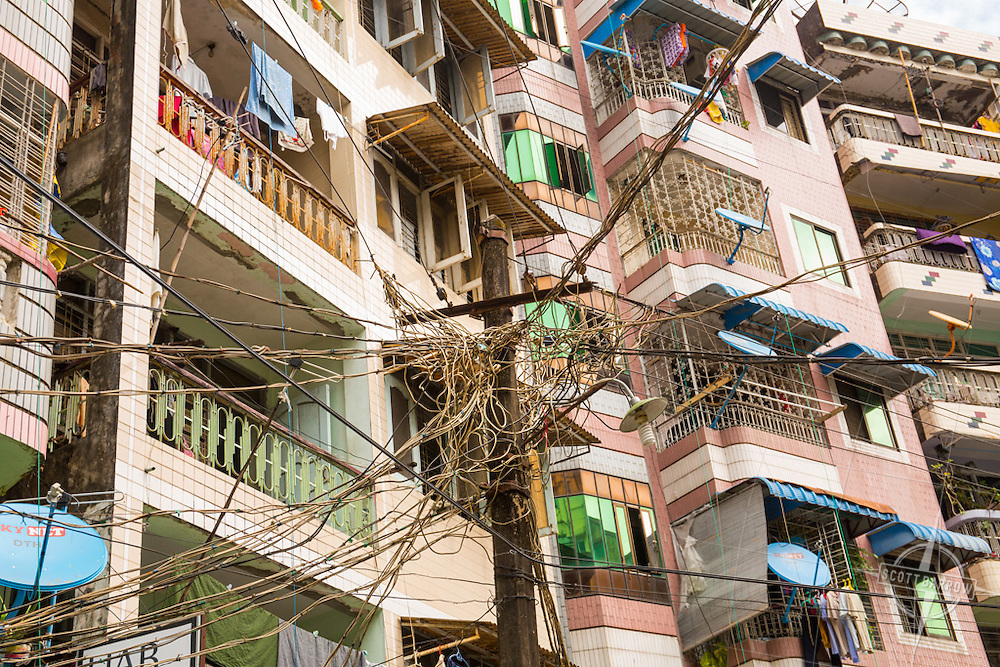 Yangon telephone and power pole.