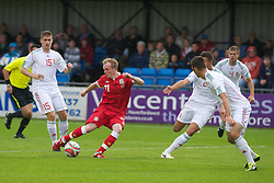 HAVERFORDWEST, WALES - Wednesday, August 10, 2011: Wales' Jonathan Williams in action against Hungary during an Under-21 International Friendly at the Conygar Bridge Meadow Stadium. (Photo by Gareth Davies/Propaganda)