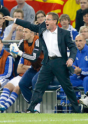 26.04.2011, Veltins Arena, Gelsenkirchen, GER, UEFA CL, Halbfinale Hinspiel, Schalke 04 (GER) vsManchester United (ENG), im Bild Schalkes Trainer Ralf Rangnick (GER) gibt Anweisungen // during the UEFA CL, Semi Final first leg, Schalke 04 (GER) vs Manchester United (ENG), at the Veltins Arena, Gelsenkirchen,  26/04/2011EXPA Pictures © 2011, PhotoCredit: EXPA/ nph/  Scholz       ****** out of GER / SWE / CRO  / BEL ******