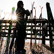 A skier takes an iPhone photo on the Corbet's Cabin deck.