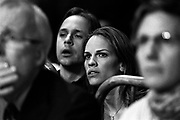 "Hillary Swank and her husband Chad Lowe are watching Maureen Shea and Ronica Jeffrey fight during the 2005 Daily News Golden Gloves 125-pound women's final at the Theatre of Madison Square Garden on April 8th.  Shea helped train Swank for her role in ""Million Dollar Baby""."