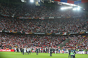 Sevilla players celebrate in from of their fans during the Europa League Final match between Liverpool and Sevilla at St Jakob-Park, Basel, Switzerland on 18 May 2016. Photo by Phil Duncan.