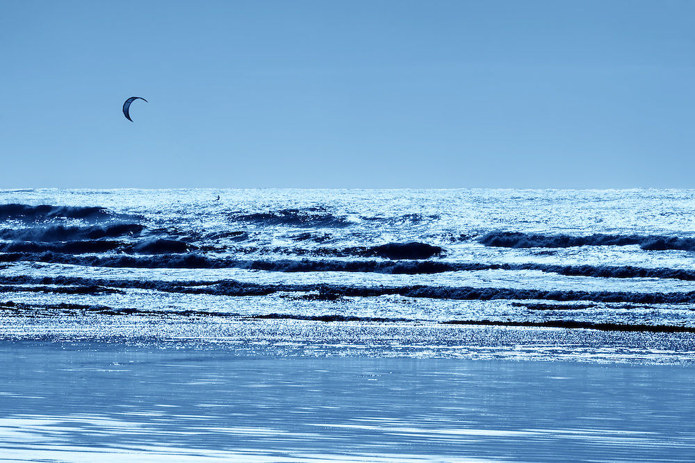 Kitesurfing in the Atlantic Ocean, Morocco.