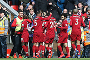 Liverpool forward Sadio Mane (10) celebrates his goal 2-1 with Liverpool defender Dejan Lovren (6) during the Premier League match between Liverpool and Burnley at Anfield, Liverpool, England on 10 March 2019.