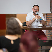 Jonny Daniels presents a lecture about From The Depths at The Galicia Museum on July 2, 2015 in Krakow, Poland. (Photo by Elan Kawesch)