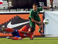 Fotball<br /> Kvalifisering UEFA Europa League<br /> 14.07.2011<br /> Ferencvaros v Aalesund<br /> Foto: Aleksandar Djorovic, Digitalsport<br /> <br /> Enar Jaager (L) FK Aalesund and Aleksandar Jovanovic (R)