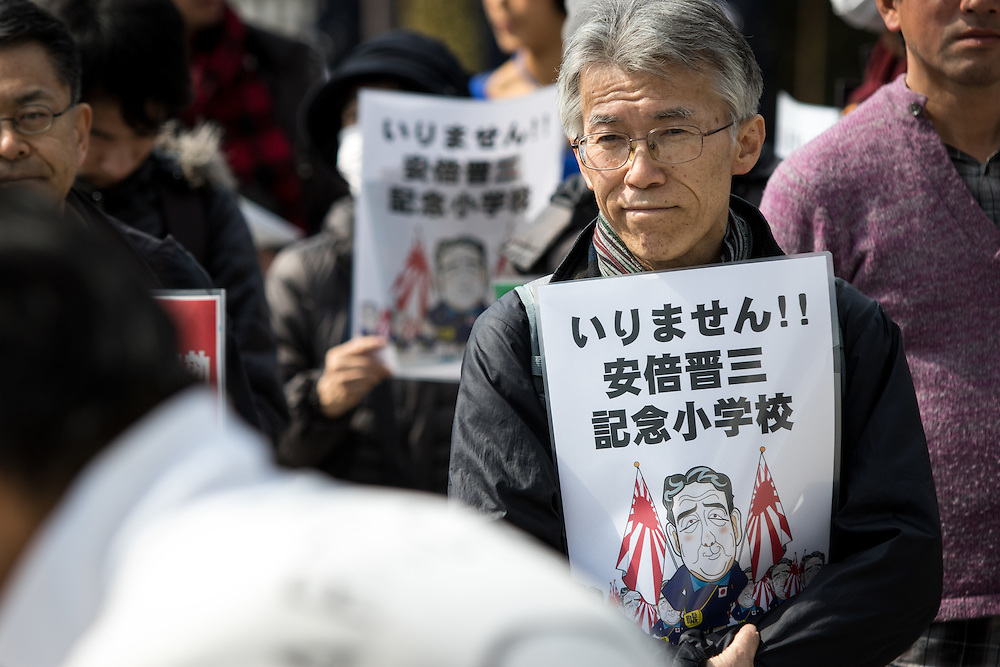TOKYO, JAPAN - MARCH 5 : Anti-Abe protesters gather in front of the National Diet Building to protest against the policies of Shinzo Abe and to call on the Japanese prime minister to resign, Tokyo, Japan, March 5, 2017. Japan's ruling party approved a change in party rules Sunday, after an annual convention of lawmakers and members of his ruling Liberal Democratic Party (LDP) that could pave the way for Prime Minister Shinzo Abe to become the country's longest-serving leader in the post-World War II era. (Photo: Richard Atrero de Guzman/NUR Photo)