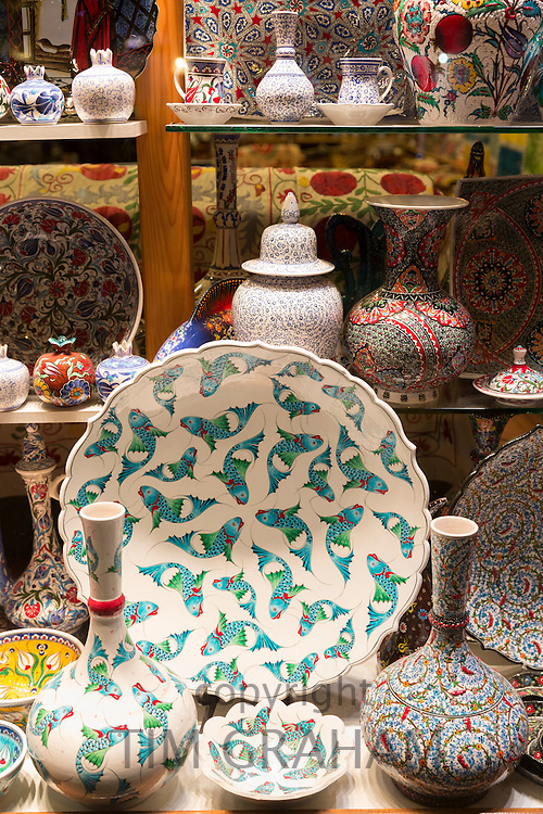 Turkish hand-painted ceramic vases bowls in window of gift shop in Kucukayasofya Caddesi, Sultanahmet, Istanbul, Turkey