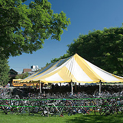 Hundreds of bicycles belonging to Trekkers are kept together under a large yellow and white tent. The 2007 Trek Across Maine, an annual project of the American Lung Association of Maine (ALAM).