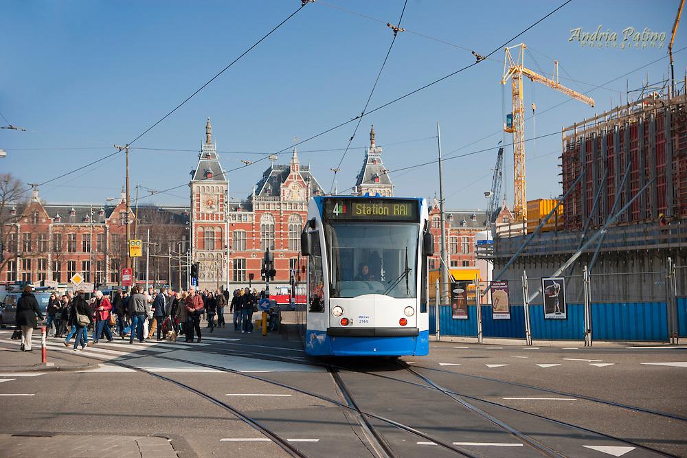 Tram leaving Amsterdam Centraal Station