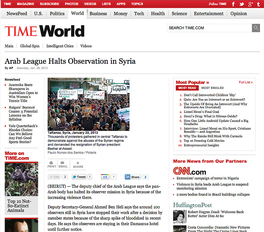 "Screengrab of ""Syrian revolution"" published in TIME.com"