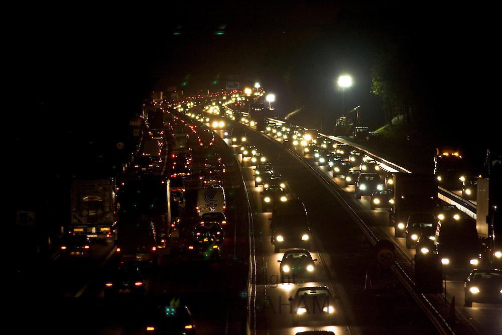 Contraflow traffic and roadworks on M3 Motorway near Surrey, United Kingdom