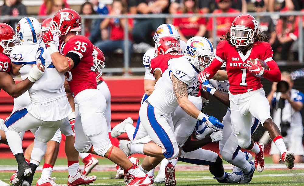 The Rutgers Scarlet Knights take on the Kansas Jayhawks during a regular season game at High Point Solutions Stadium on Saturday, September 26, 2015.<br />