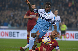 March 2, 2019 - Rome, Lazio, Italy - Felipe Caicedo of SS Lazio vies Daniele De Rossi of AS Roma during the Italian Serie A football match between S.S. Lazio and A.S Roma at the Olympic Stadium in Rome, on march 02, 2019. (Credit Image: © Silvia Lore/NurPhoto via ZUMA Press)