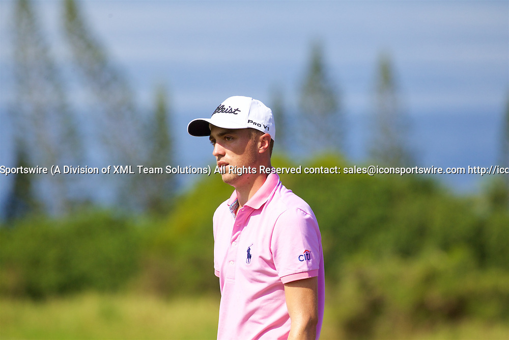 January 08 2016: Justin Thomas during the Second Round of the Hyundai Tournament of Champions at Kapalua Plantation Course on Maui, HI. (Photo by Aric Becker/Icon Sportswire)