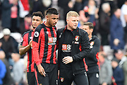 AFC Bournemouth manager Eddie Howe with Lys Mousset (31) of AFC Bournemouth at full time after the 2-2 draw during the Premier League match between Bournemouth and Crystal Palace at the Vitality Stadium, Bournemouth, England on 7 April 2018. Picture by Graham Hunt.