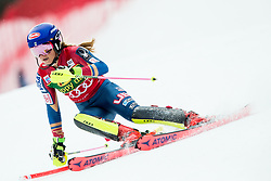 "Mikaela Shiffrin (USA) in action during 1st Run of the FIS Alpine Ski World Cup 2017/18 7th Ladies' Slalom race named ""Golden Fox 2018"", on January 7, 2018 in Podkoren, Kranjska Gora, Slovenia. Photo by Ziga Zupan / Sportida"