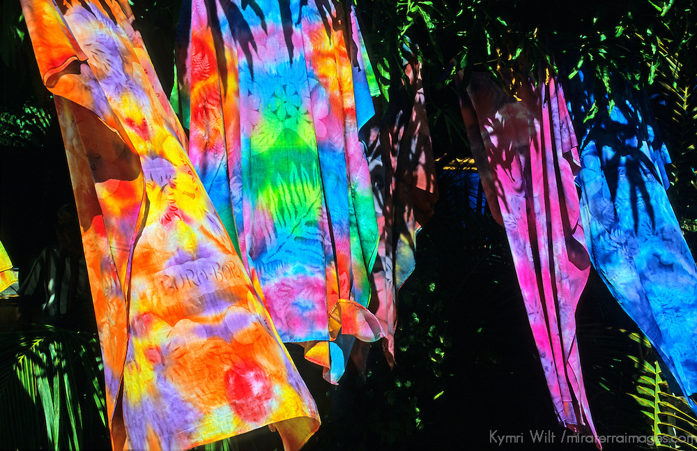 Oceania, South Pacific, French Polynesia, Tahiti. Batik textiles.