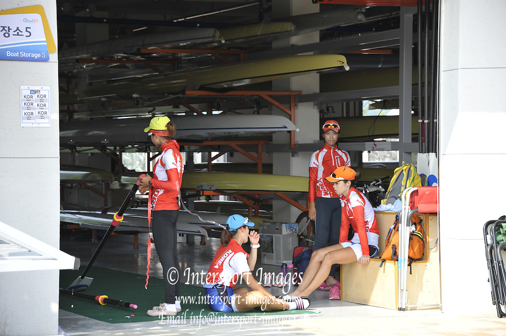 Chungju, South Korea. General Views, crew relaxing in the shade of the  Boathouse, boat bay.  2013 World Rowing Championships, Tangeum Lake, International Regatta Course.  Friday  30/08/2013 [Mandatory Credit. Peter Spurrier/Intersport Images]