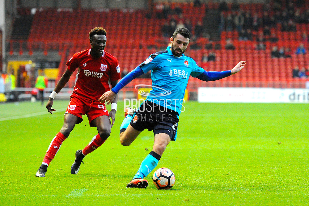 Conor McLaughlin (2) of Fleetwood Town on the attack during the The FA Cup match between Bristol City and Fleetwood Town at Ashton Gate, Bristol, England on 7 January 2017. Photo by Graham Hunt.