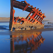Peter Iredale Shipwreck And Reflection - Sunset - Oregon Coast - HDR