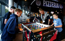 Jordan Nichols of Bristol Flyers plays table football with fans at the 2017/18 season launch event at Ashton Gate - Mandatory by-line: Robbie Stephenson/JMP - 11/09/2017 - BASKETBALL - Ashton Gate - Bristol, England - Bristol Flyers 2017/18 Season Launch