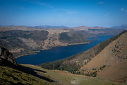 Thirlmere reservoir surrounded by the beautiful green valley of Wythburn and Armboth Fells taken from the western side of Helvellyn mountain, Lake District, Cumbria, UK.  The reservoir is in the site of a natural lake within the Lake District National Park.   (photo by Andrew Aitchison / In pictures via Getty Images)