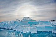 sun halo, blue ice, Lake Superior, Marquette MI