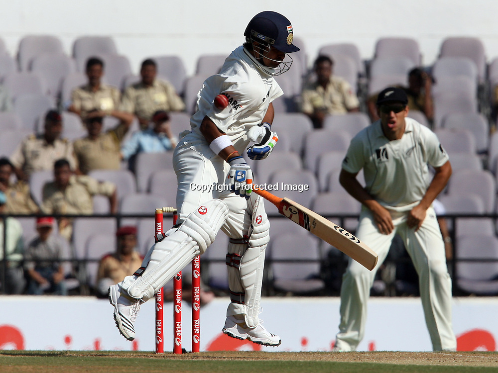 Indian batsman Suresh Raina in action Against New Zeakand during the 3rd test match India vs New Zealand day-3 Played at Vidarbha Cricket Association Stadium, Jamtha, Nagpur, 22, November 2010 (5-day match)