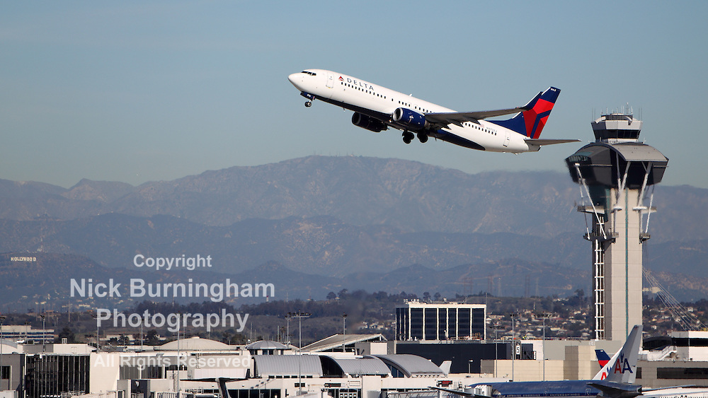 LOS ANGELES, CALIFORNIA, USA - JANUARY 15, 2013 - A Delta Airlines Boeing 737-832 takes off at Los Angeles Airport on January 15, 2013. The 832 has better fuel economy and seat up to 189 passengers.