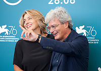 Venice, Italy, 30th August 2019, screenwriter Ippolita di Majo and director Mario Martone at the photocall for the film The Mayor of Rione Sanita (Il Sindaco Del Rione Sanita) at the 76th Venice Film Festival, Sala Grande. Credit: Doreen Kennedy/Alamy Live News