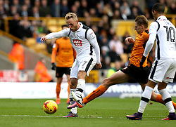 Johnny Russell of Derby County shoots at goal - Mandatory by-line: Robbie Stephenson/JMP - 05/11/2016 - FOOTBALL - Molineux - Wolverhampton, England - Wolverhampton Wanderers v Derby County - Sky Bet Championship