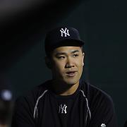 Pitcher Masahiro Tanaka, New York Yankees, in the dugout during the New York Mets Vs New York Yankees MLB regular season baseball game at Citi Field, Queens, New York. USA. 20th September 2015. Photo Tim Clayton