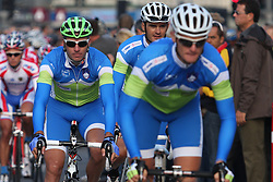 Jure Kocjan, Gorazd Stangelj and Grega Bole (Slovenia) during the Men's Elite Road Race at the UCI Road World Championships on September 25, 2011 in Copenhagen, Denmark. (Photo by Marjan Kelner / Sportida Photo Agency)