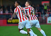 Shaun Harrad celebrates scoring first goal during the Sky Bet League 2 match between Cheltenham Town and Cambridge United at Whaddon Road, Cheltenham, England on 14 April 2015. Photo by Alan Franklin.